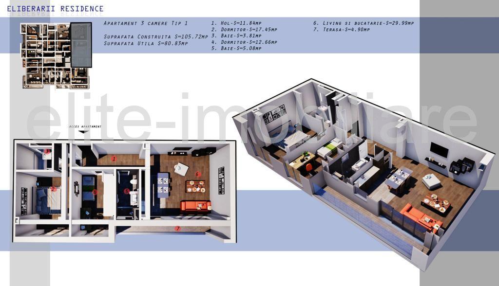 DIRECT DEZVOLTATOR! COMISION 0% INEL 2 - Apartament cu 3 camere TIP 1 in Complex Eliberarii Residence