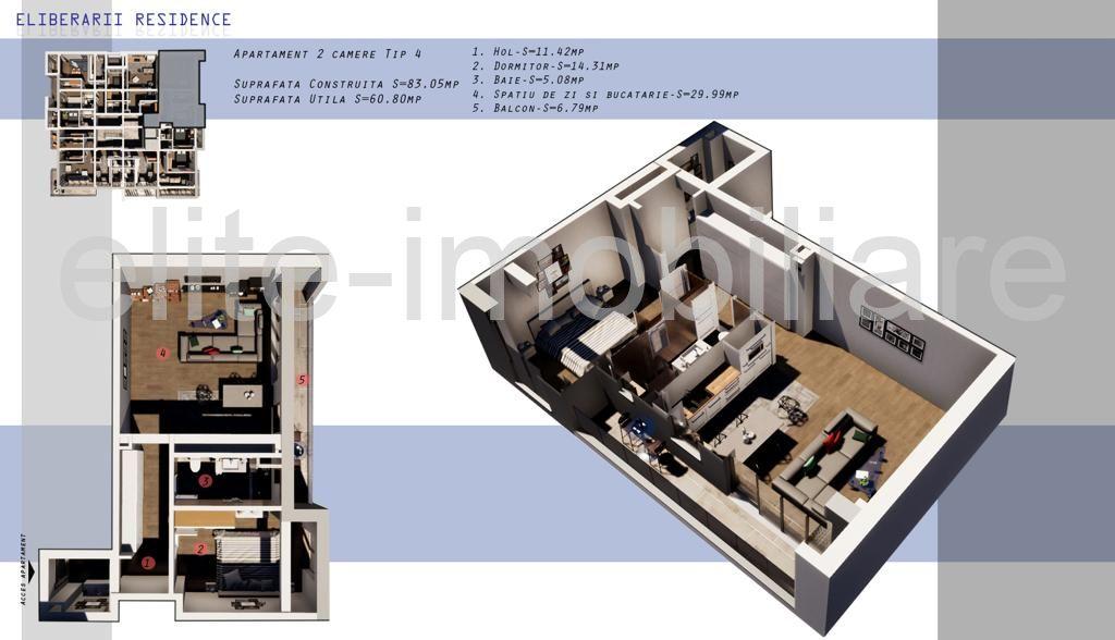 DIRECT DEZVOLTATOR! COMISION 0% INEL 2 - Apartament cu 2 camere TIP 4 in Complex Eliberarii Residence