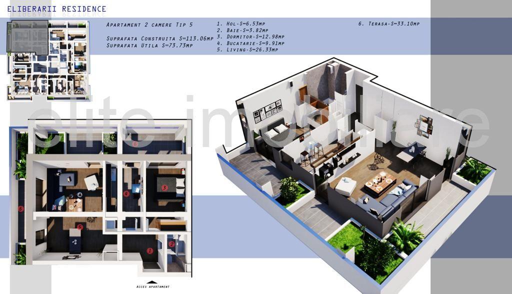 DIRECT DEZVOLTATOR! COMISION 0% INEL 2 - Apartament cu 2 camere TIP 5 in Complex Eliberarii Residence