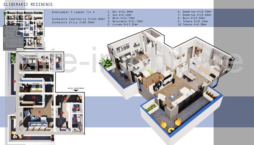 DIRECT DEZVOLTATOR! COMISION 0% INEL 2 - Apartament cu 3 camere TIP 4 in Complex Eliberarii Residence