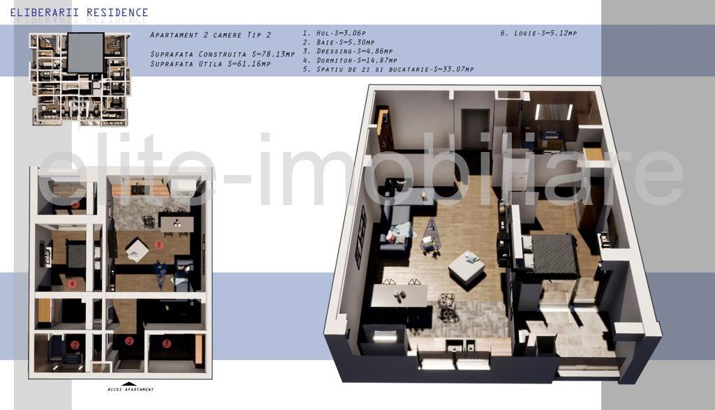 DIRECT DEZVOLTATOR! COMISION 0% INEL 2 - Apartament cu 2 camere TIP 2 in Complex Eliberarii Residence