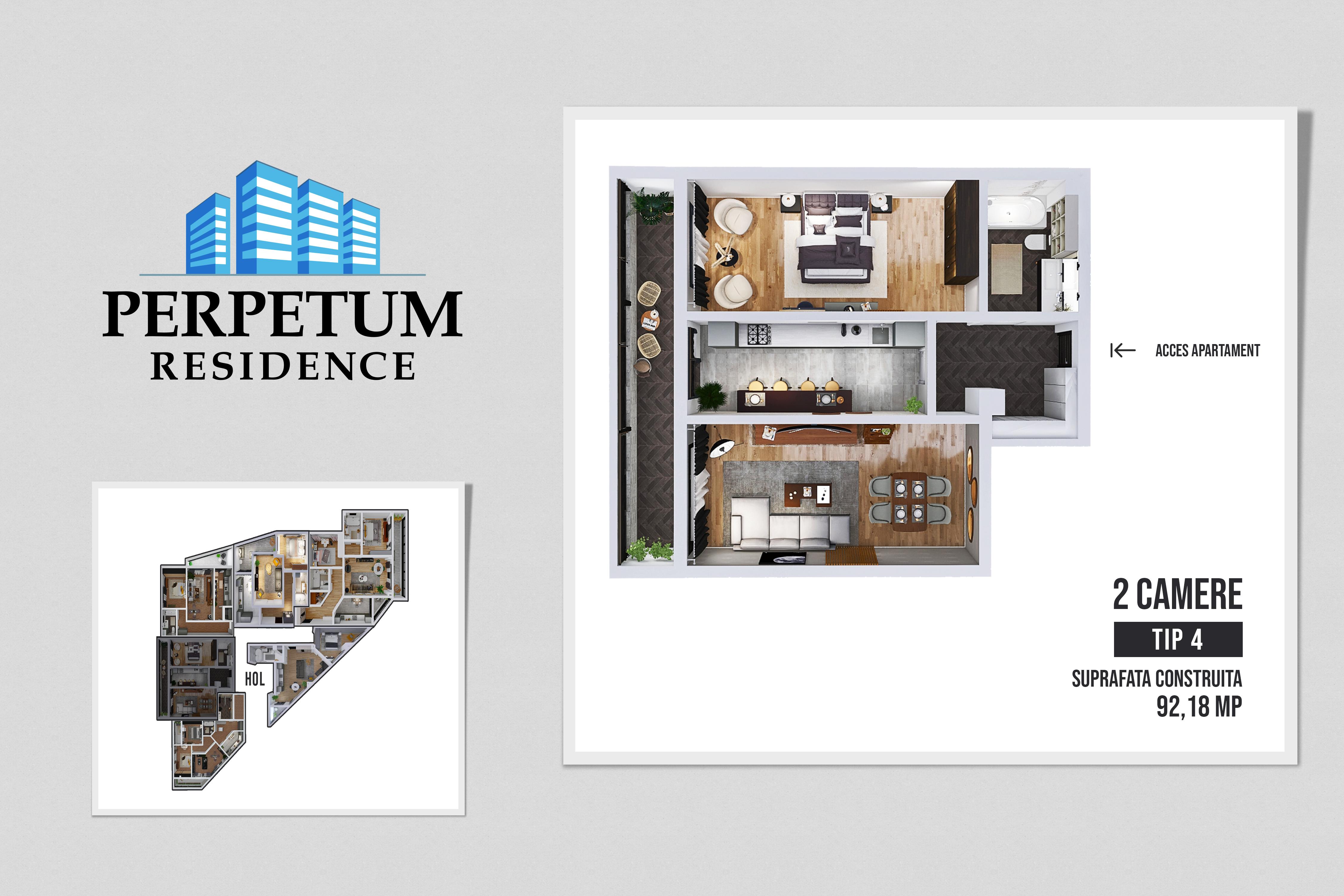 DIRECT DEZVOLTATOR! COMISION 0% Tomis Nord - Apartament cu 2 camere TIP 4 in Complex Perpetum Residence II