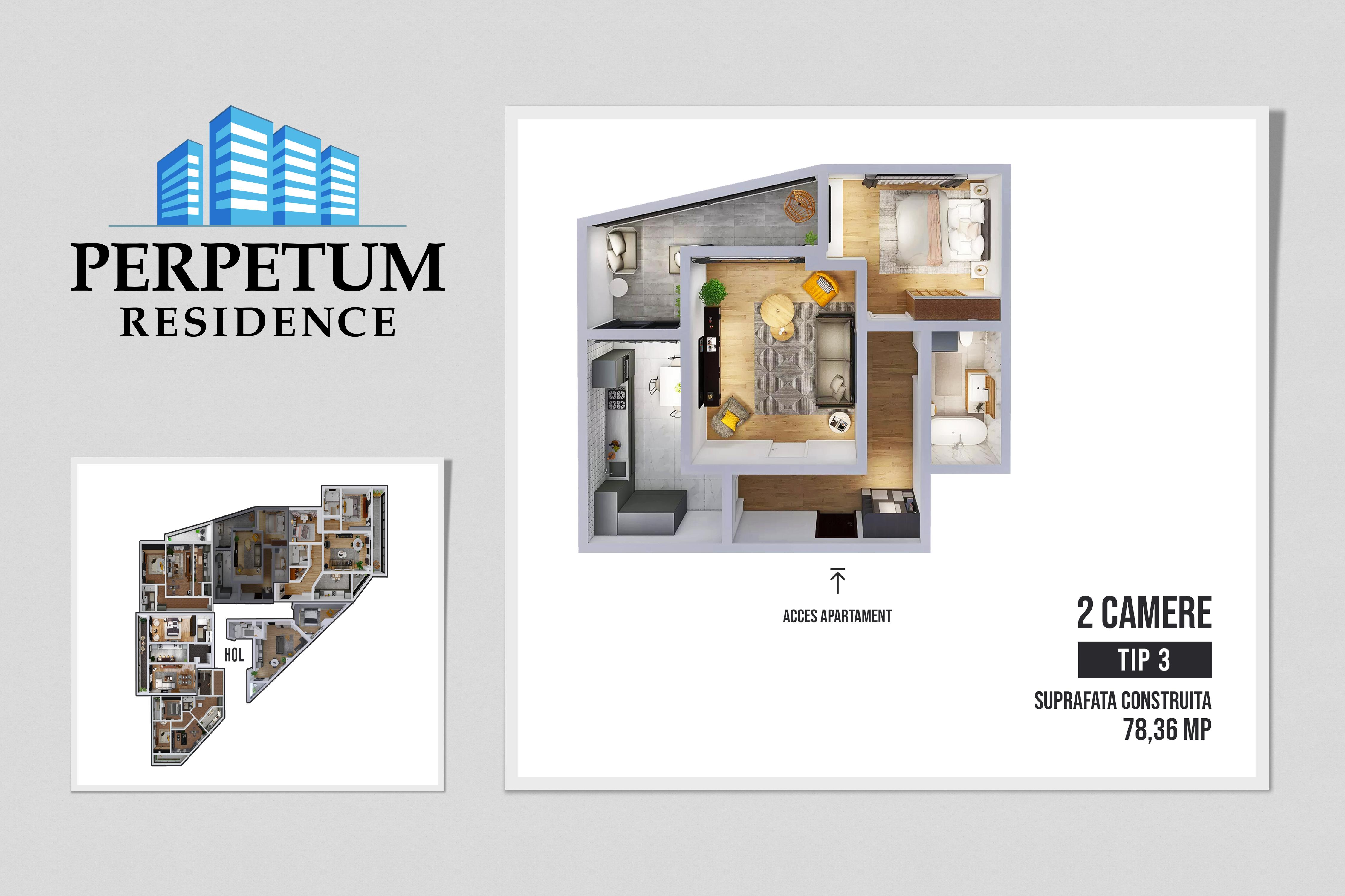 DIRECT DEZVOLTATOR! COMISION 0% Tomis Nord - Apartament cu 2 camere TIP 3 in Complex Perpetum Residence II